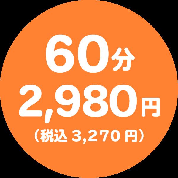 60分コース2,980円(税込3,210円)
